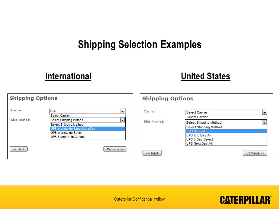 Shipping Selection Examples