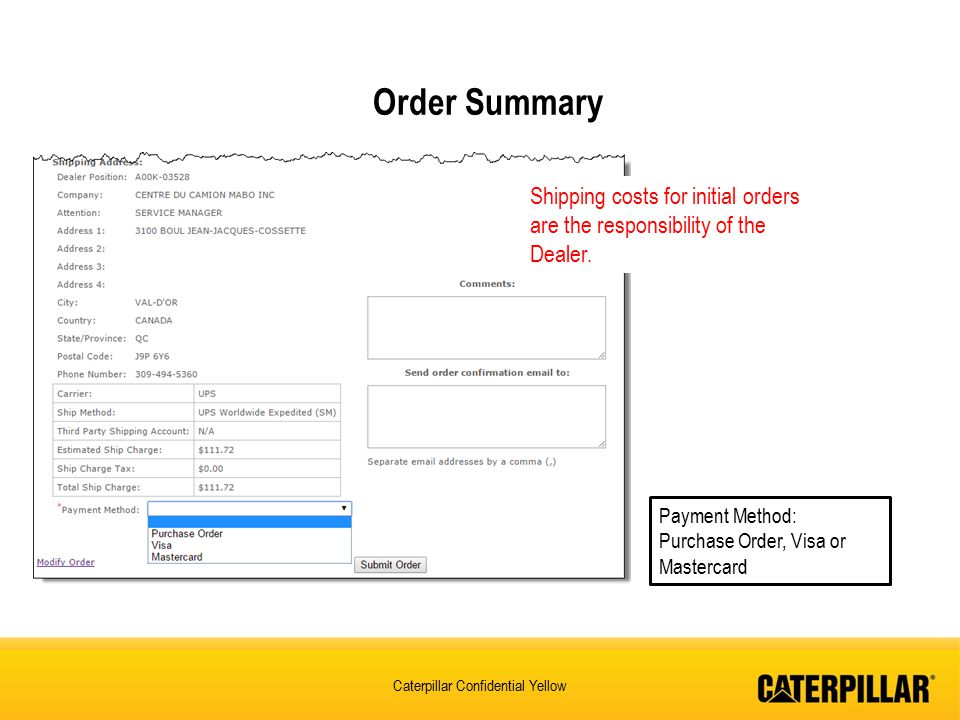 Order Summary Shipping costs for initial orders are the responsibility of the Dealer. Payment Method: