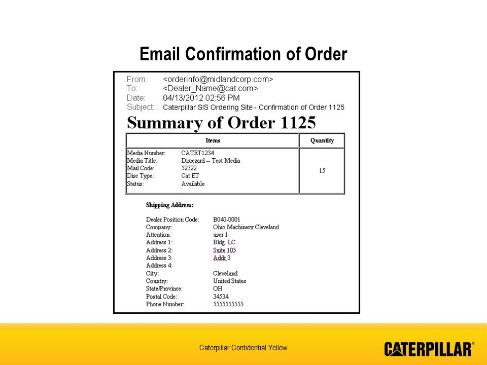 Email Confirmation of Order