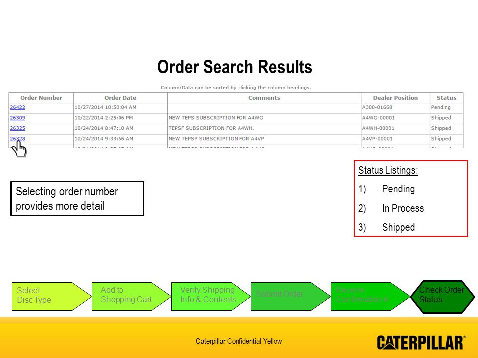 Order Search Results Selecting order number provides more detail