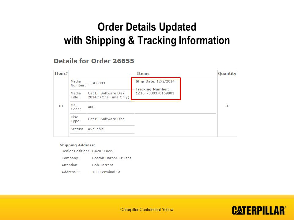 Order Details Updated with Shipping & Tracking Information