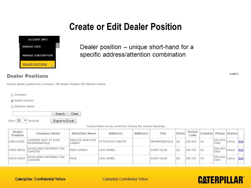 Create or Edit Dealer Position