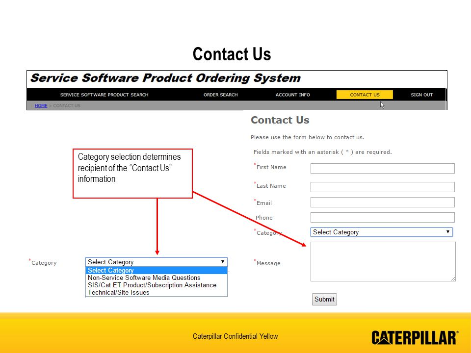 Contact Us Category selection determines recipient of the Contact Us information