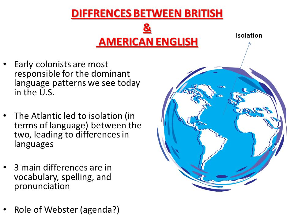 DIFFRENCES BETWEEN BRITISH & AMERICAN ENGLISH