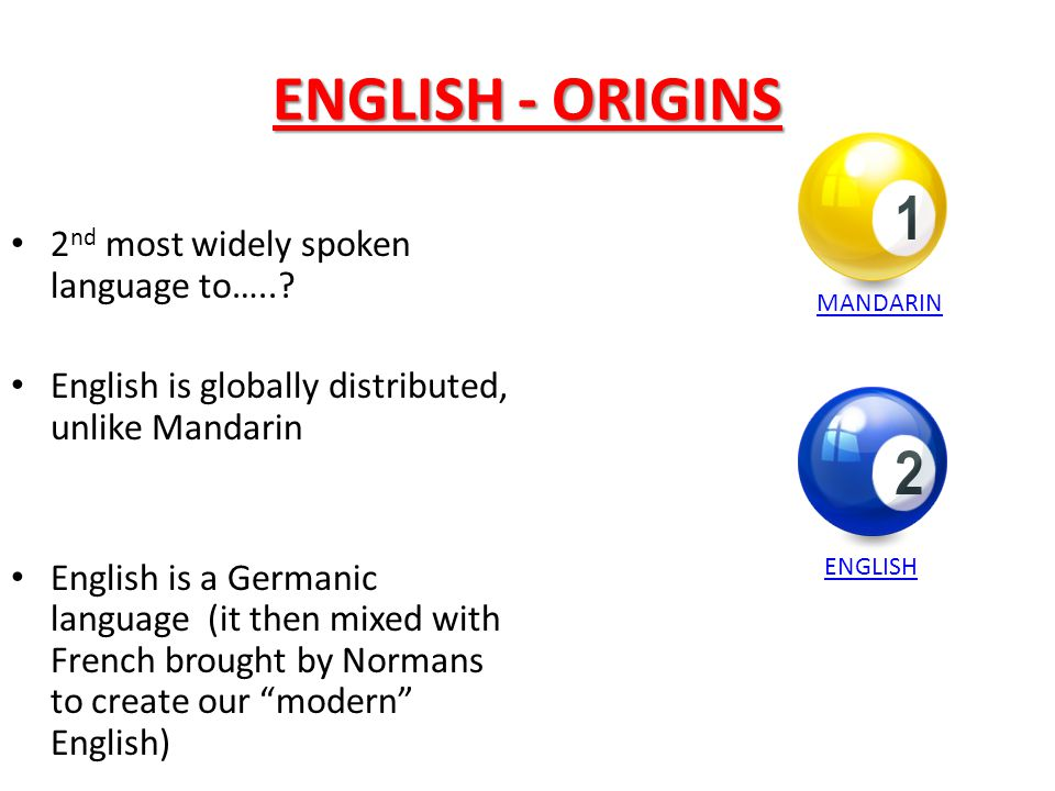 ENGLISH - ORIGINS 2nd most widely spoken language to…..