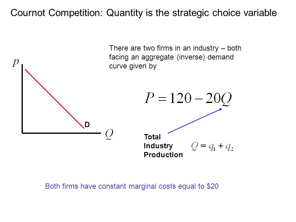 Cournot Competition: Quantity is the strategic choice variable