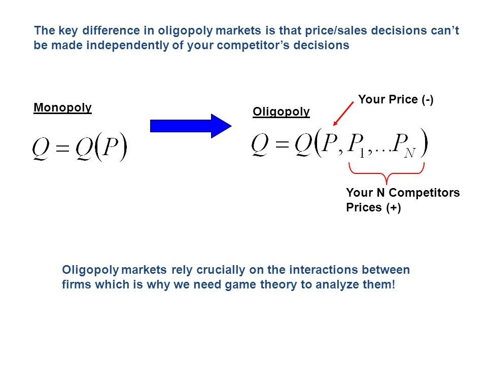 The key difference in oligopoly markets is that price/sales decisions can't be made independently of your competitor's decisions