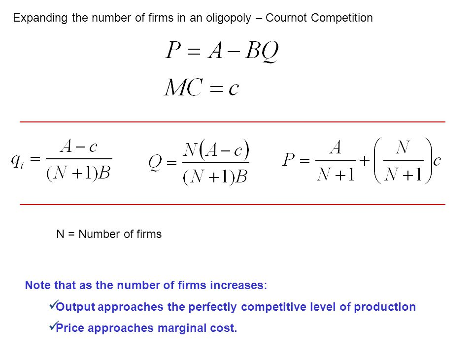 Expanding the number of firms in an oligopoly – Cournot Competition
