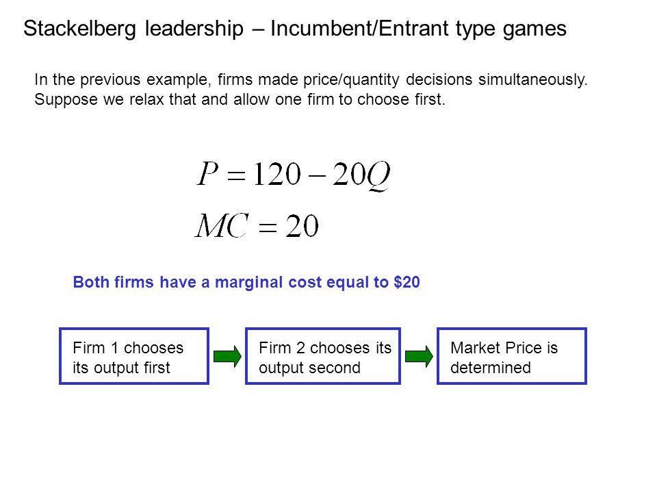Stackelberg leadership – Incumbent/Entrant type games