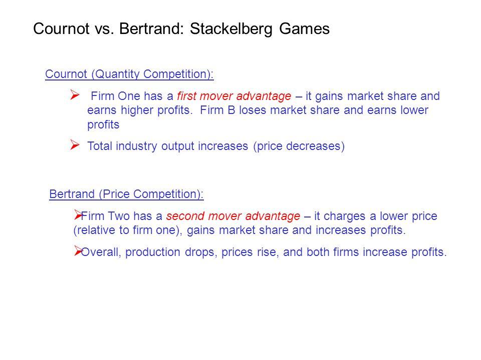 Cournot vs. Bertrand: Stackelberg Games