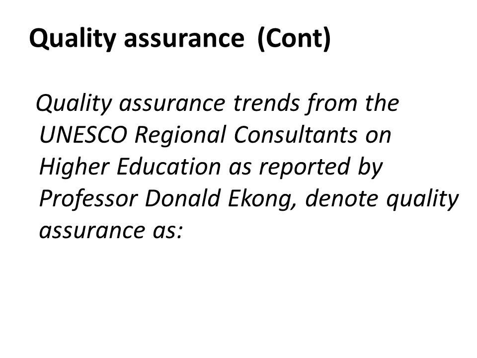 Quality assurance (Cont)