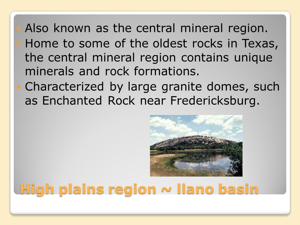 High plains region ~ llano basin