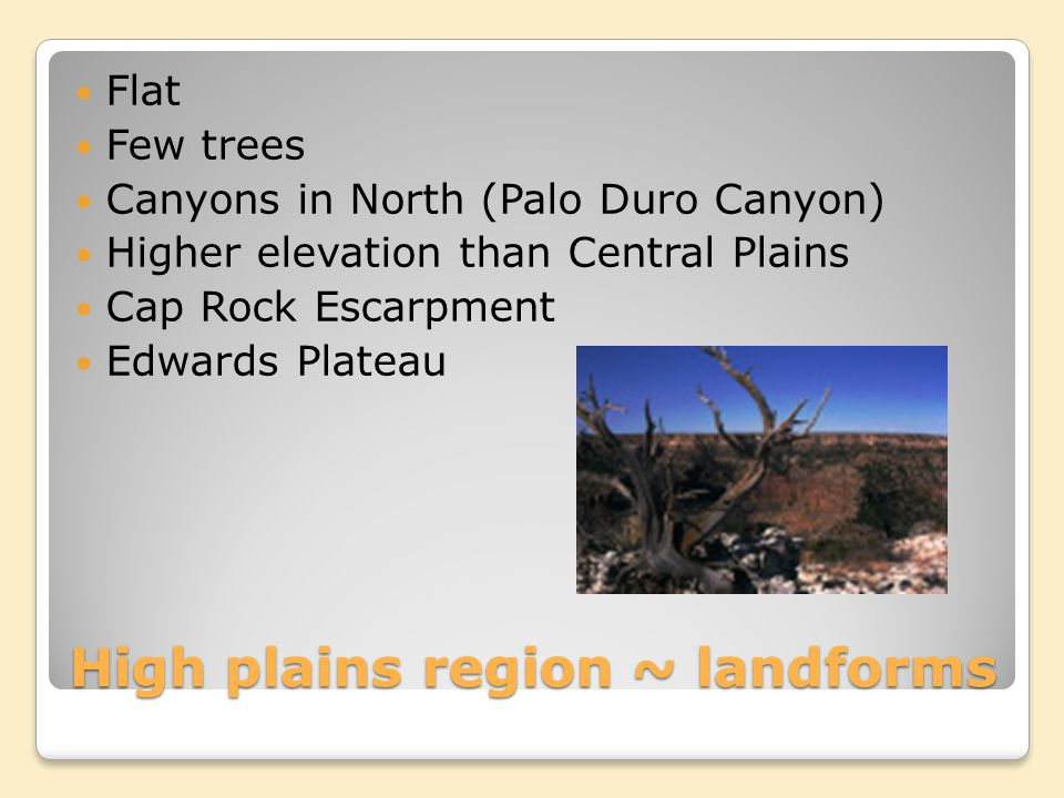 High plains region ~ landforms