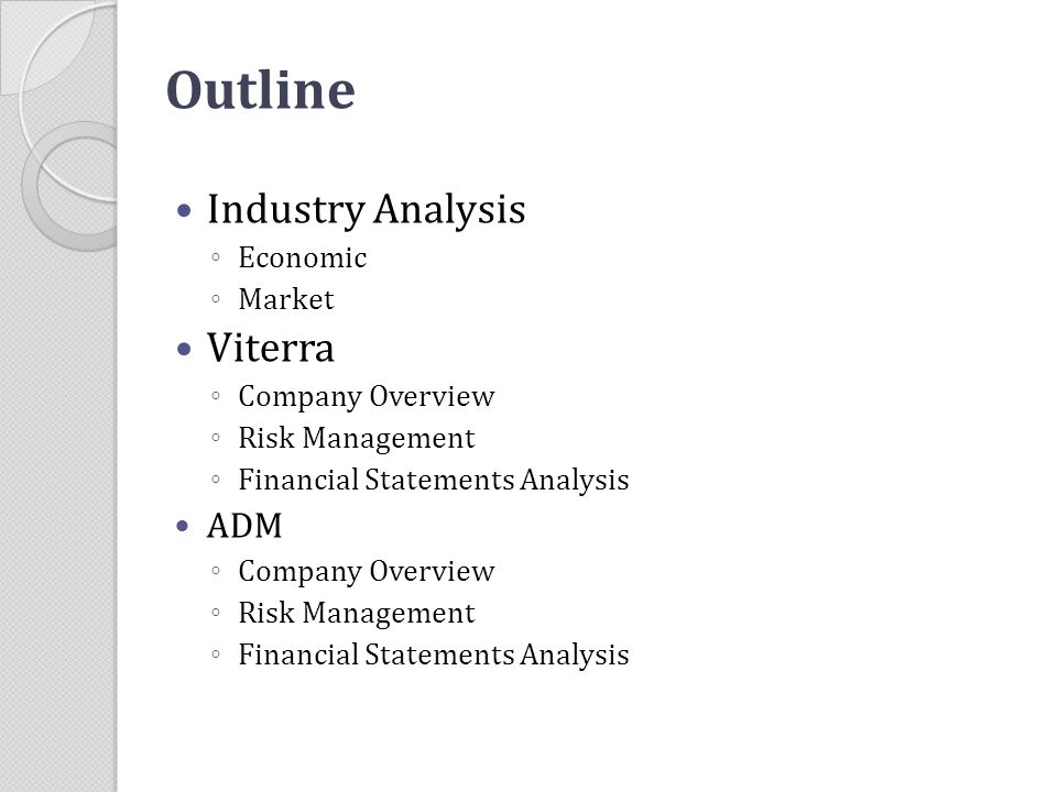 Outline Industry Analysis Viterra ADM Economic Market Company Overview