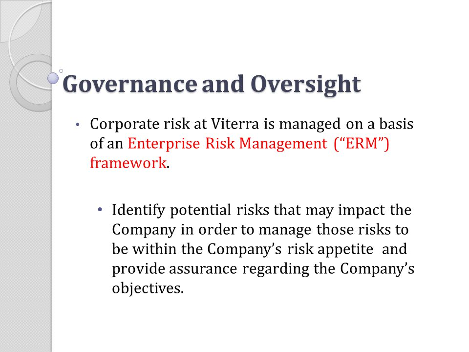 Governance and Oversight