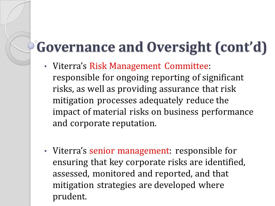 Governance and Oversight (cont'd)