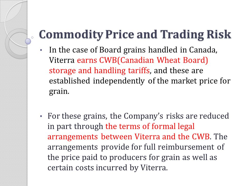 Commodity Price and Trading Risk