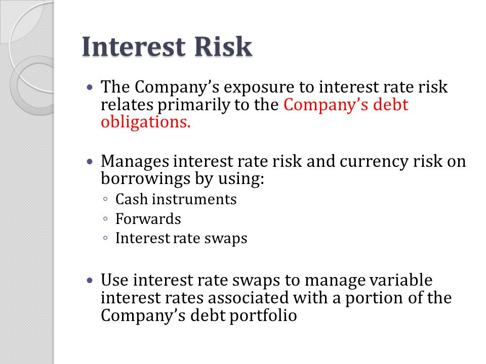 Interest Risk The Company's exposure to interest rate risk relates primarily to the Company's debt obligations.