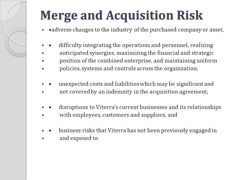 Merge and Acquisition Risk