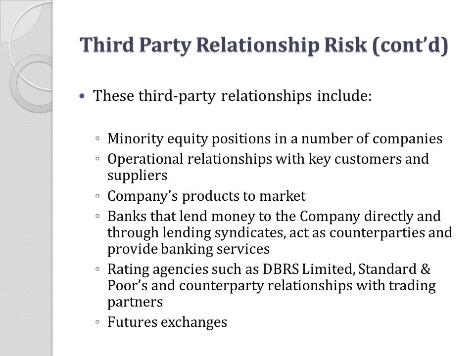 Third Party Relationship Risk (cont'd)