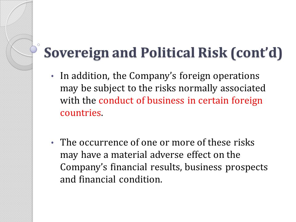 Sovereign and Political Risk (cont'd)