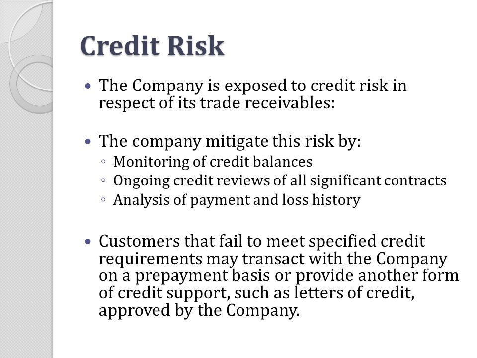 Credit Risk The Company is exposed to credit risk in respect of its trade receivables: The company mitigate this risk by: