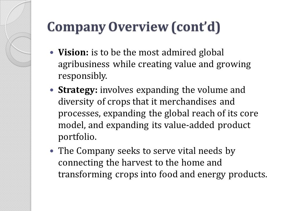Company Overview (cont'd)