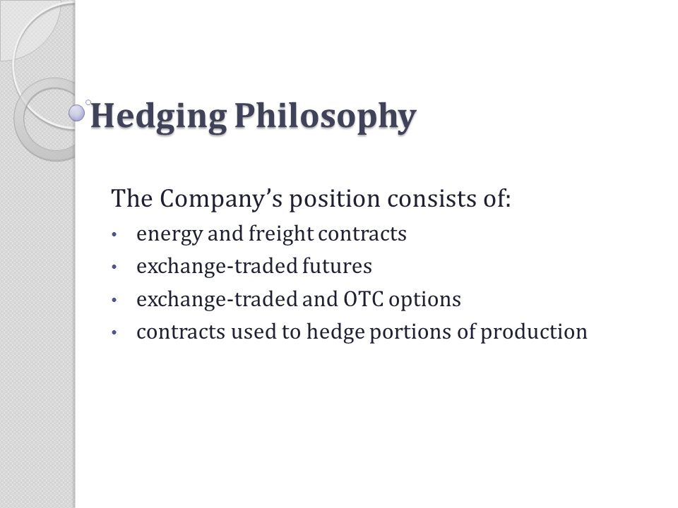 Hedging Philosophy The Company's position consists of: