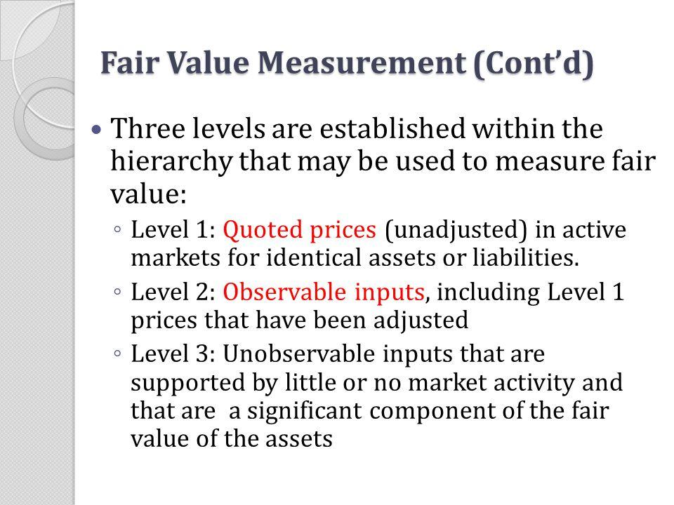 Fair Value Measurement (Cont'd)
