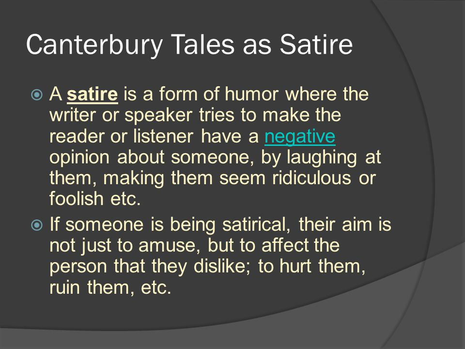 Canterbury Tales as Satire