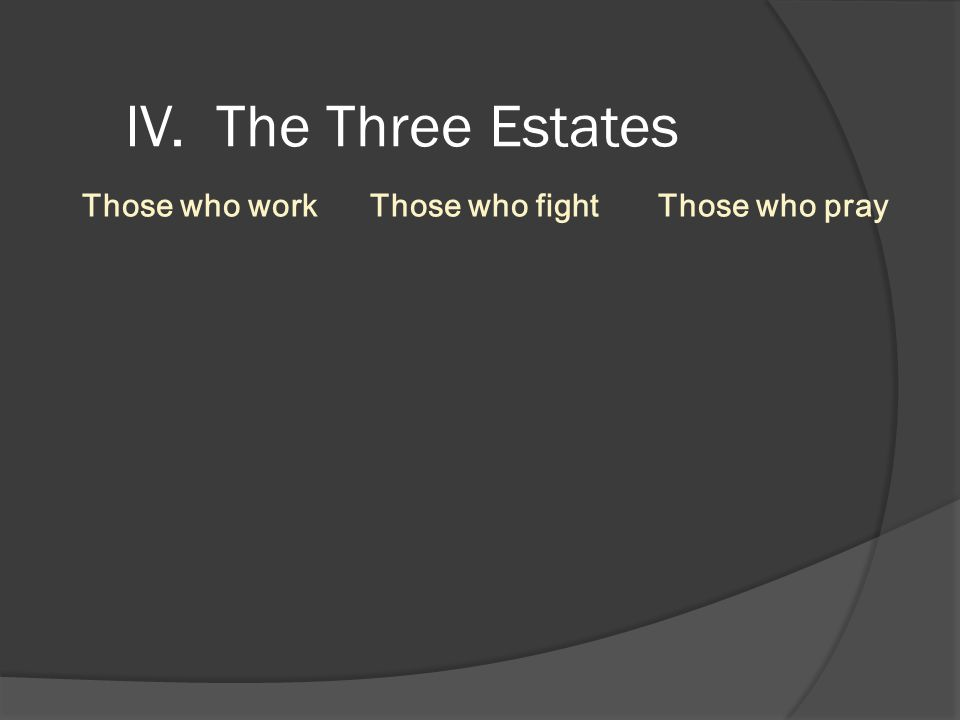 IV. The Three Estates Those who work Those who fight Those who pray