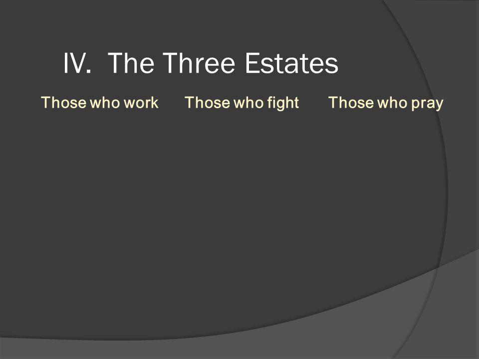 IV. The Three Estates Those who work Those who fight Those who pray