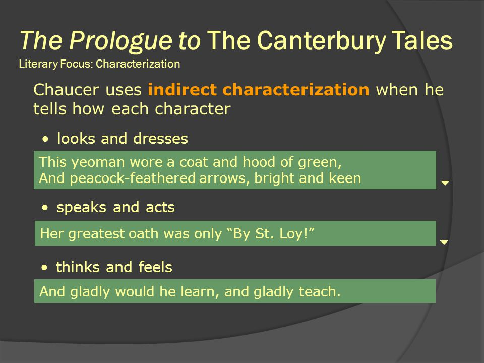 characterization in canterbury tales Or answers the question comprehension - the questions below refer to the selection the prologue from the canterbury tales ____ 1 in ―the prologue,‖ chaucer's main objective is to — a analyze religious customs c introduce his cast of characters b reveal the narrator's thoughts d.