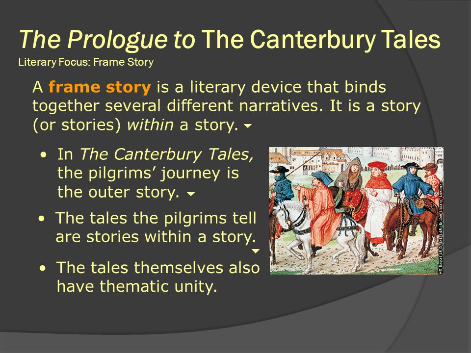 The Prologue to The Canterbury Tales Literary Focus: Frame Story