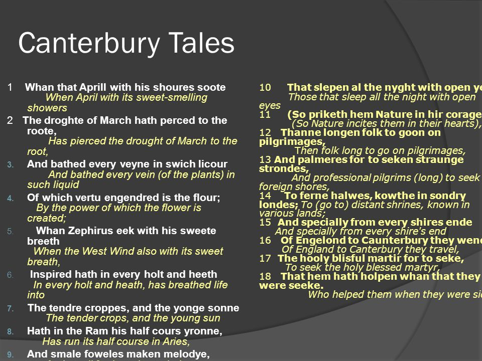 Canterbury Tales 1 Whan that Aprill with his shoures soote When April with its sweet-smelling showers.