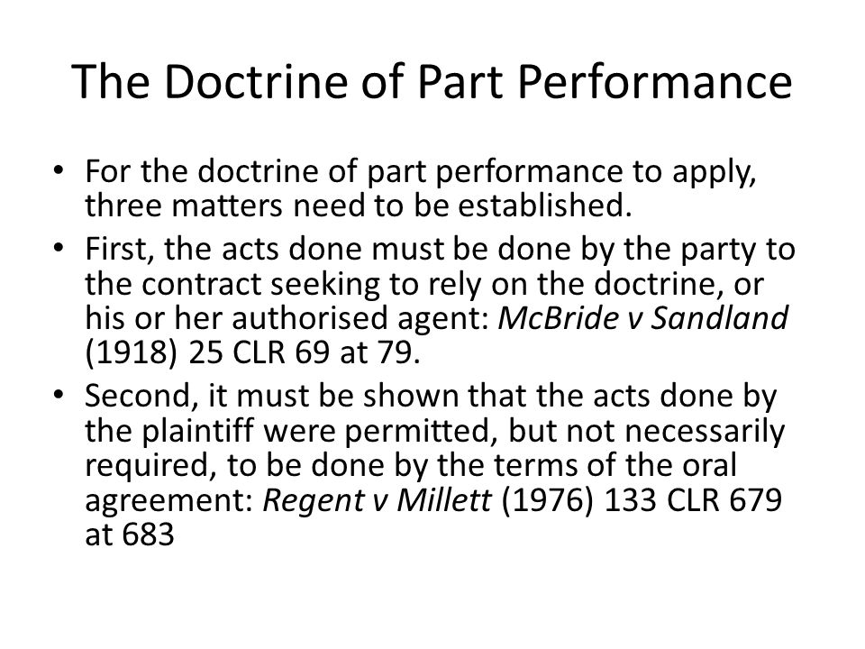 The Doctrine of Part Performance