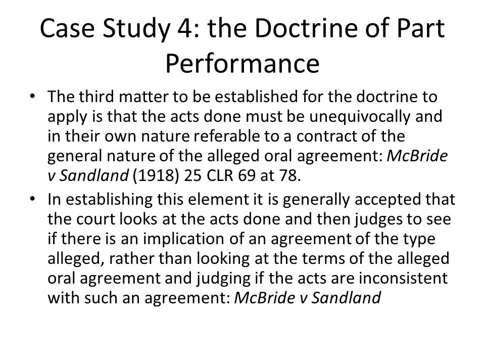 Case Study 4: the Doctrine of Part Performance