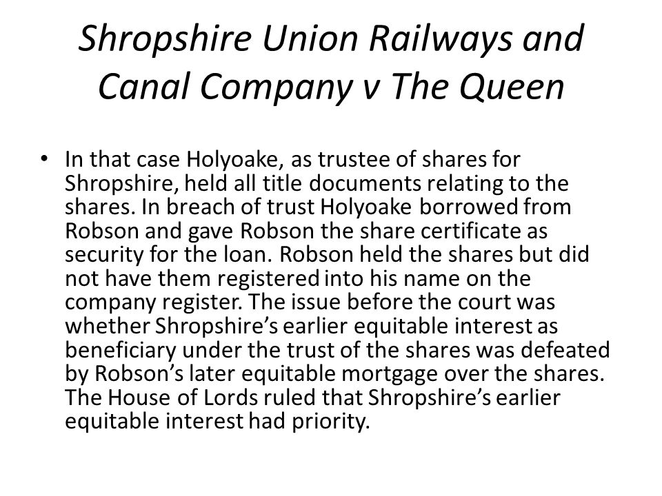 Shropshire Union Railways and Canal Company v The Queen