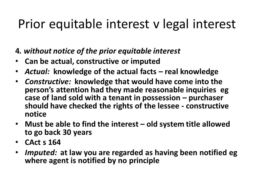 Prior equitable interest v legal interest