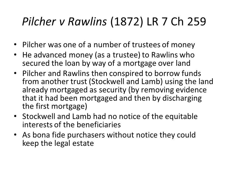 Pilcher v Rawlins (1872) LR 7 Ch 259