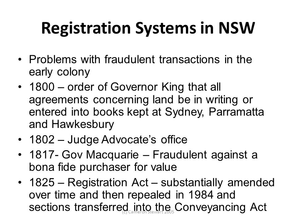 Registration Systems in NSW