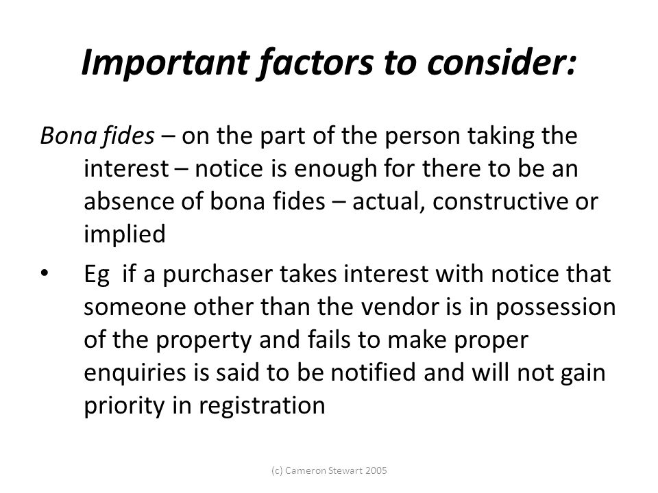 Important factors to consider: