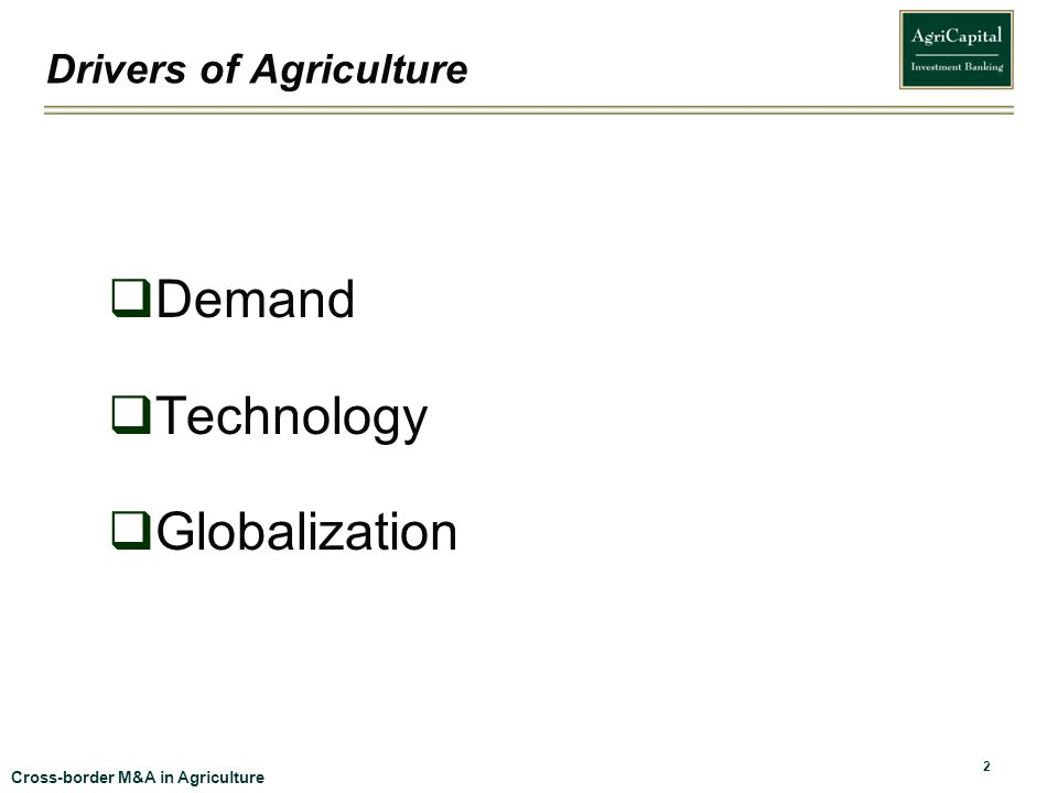 Drivers of Agriculture