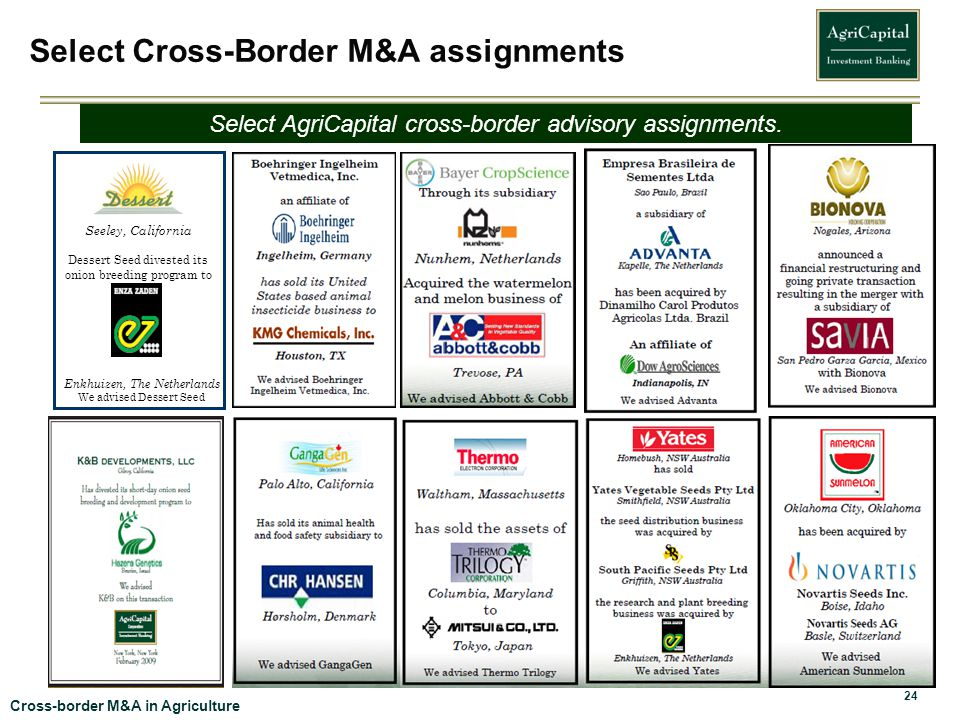 Select Cross-Border M&A assignments