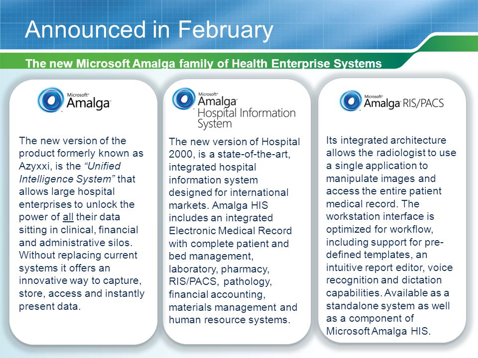 4/12/2017 2:51 AM Announced in February. The new Microsoft Amalga family of Health Enterprise Systems.