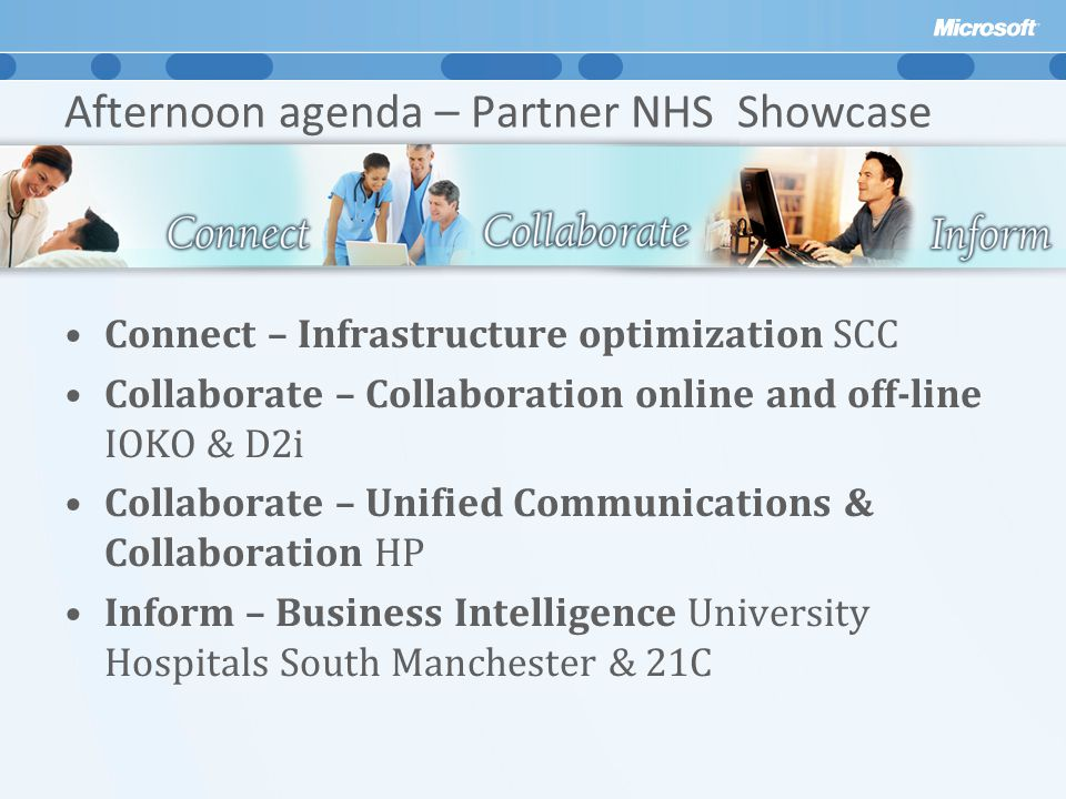 Afternoon agenda – Partner NHS Showcase