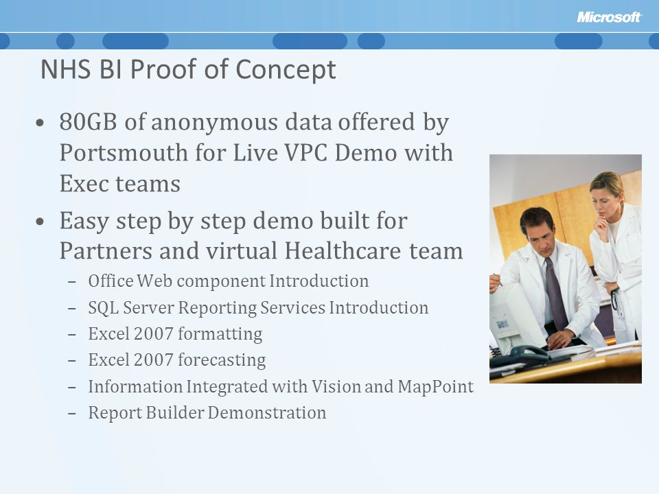 NHS BI Proof of Concept 80GB of anonymous data offered by Portsmouth for Live VPC Demo with Exec teams.