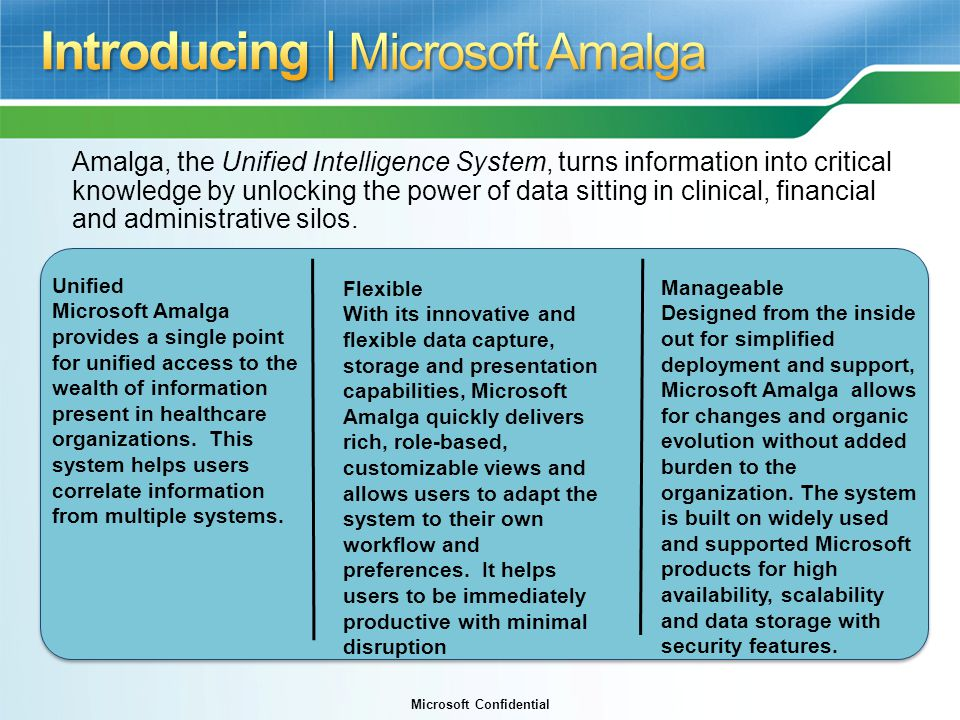 Introducing | Microsoft Amalga