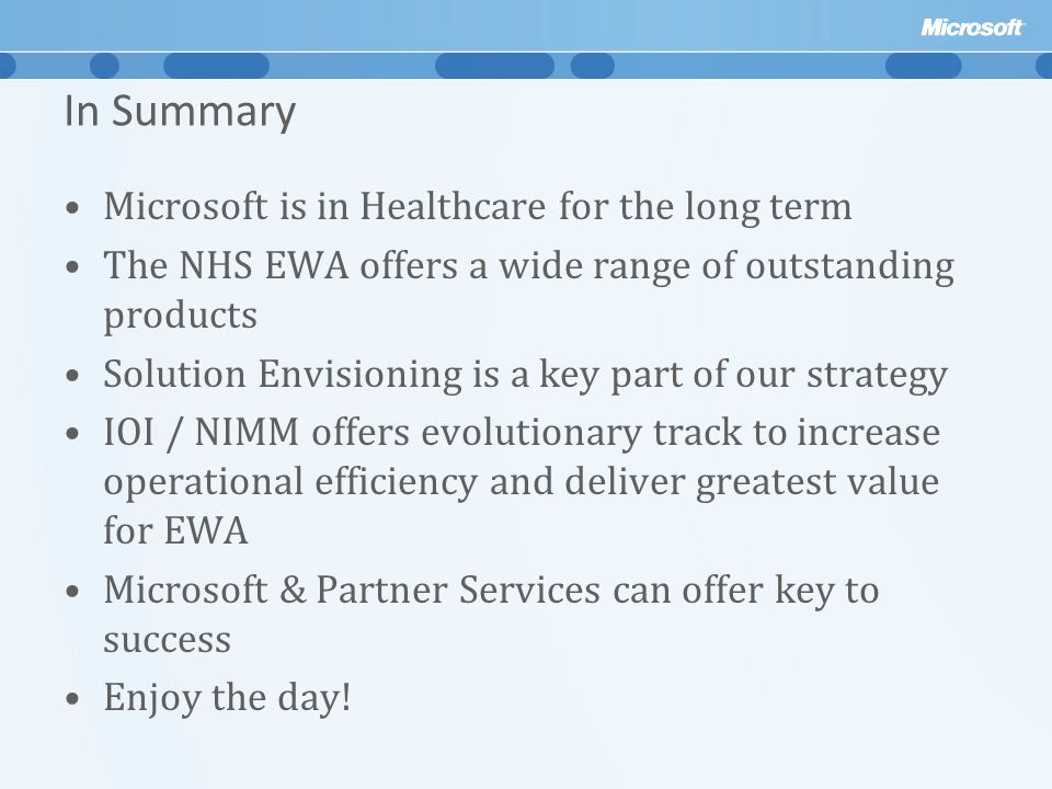 In Summary Microsoft is in Healthcare for the long term