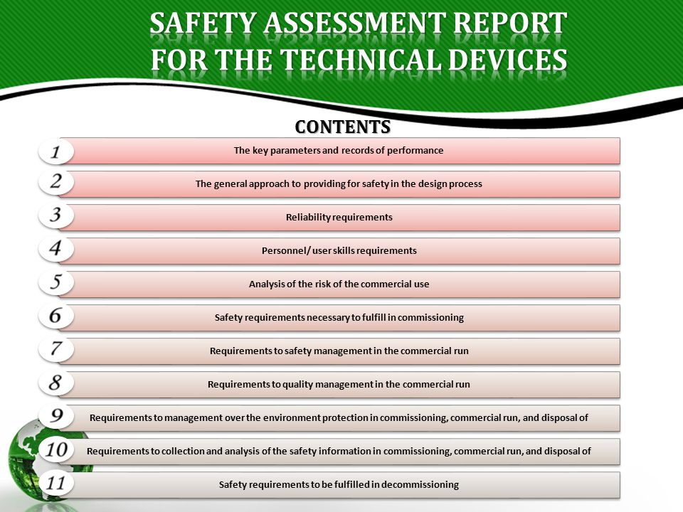 Safety Assessment Report for the technical devices